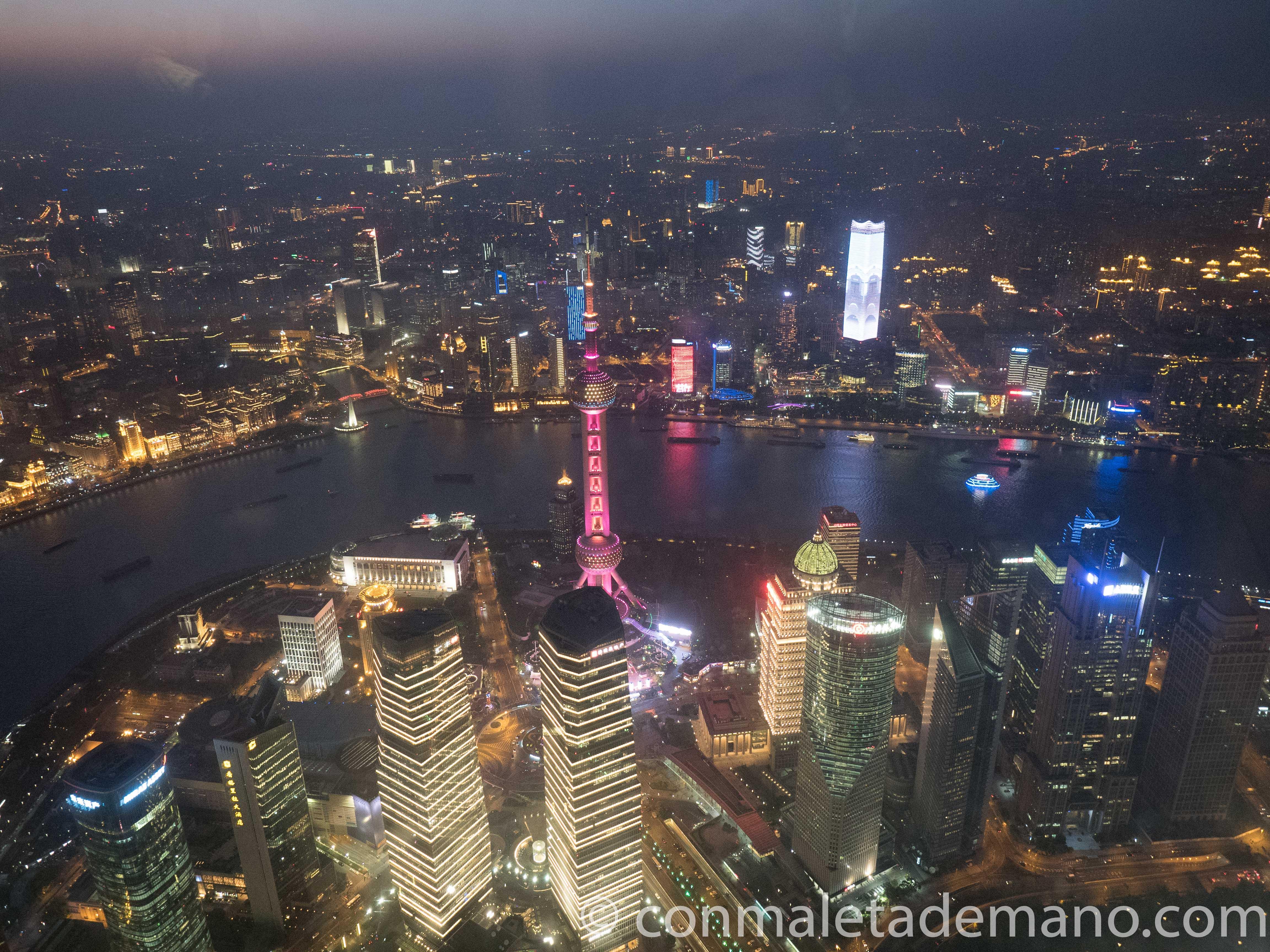 Vistas desde la Shanghái Tower, por la noche