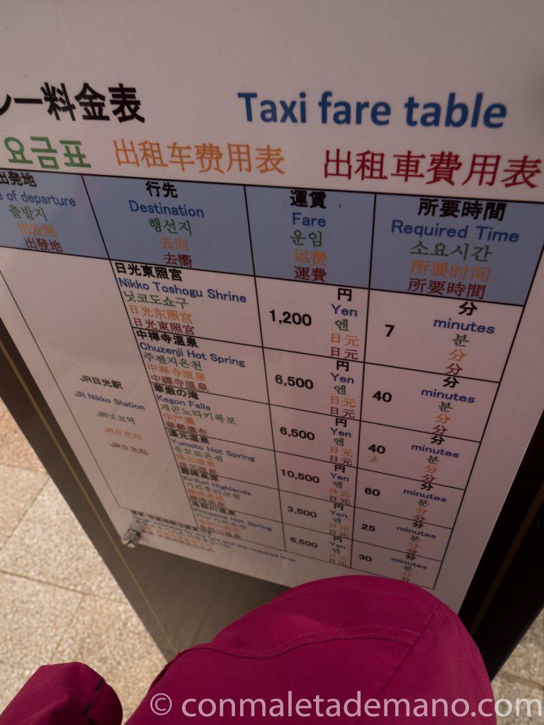 Nikko. Precios orientativos en la parada de taxis que hay al lado de la estación JR