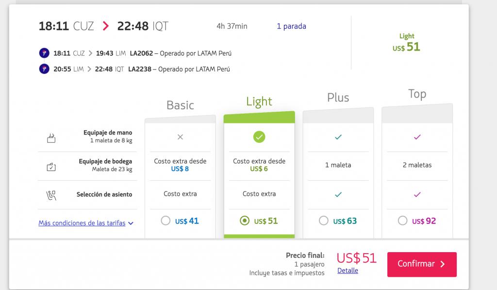Precio para el horario seleccionado, en la web peruana de Latam