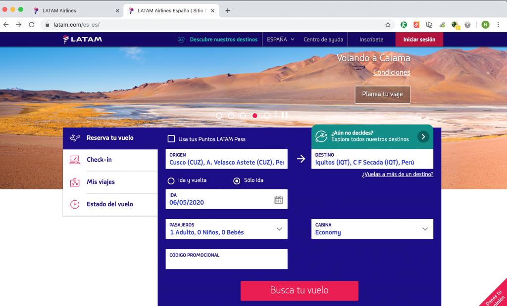 Buscando vuelos en la web española de Latam
