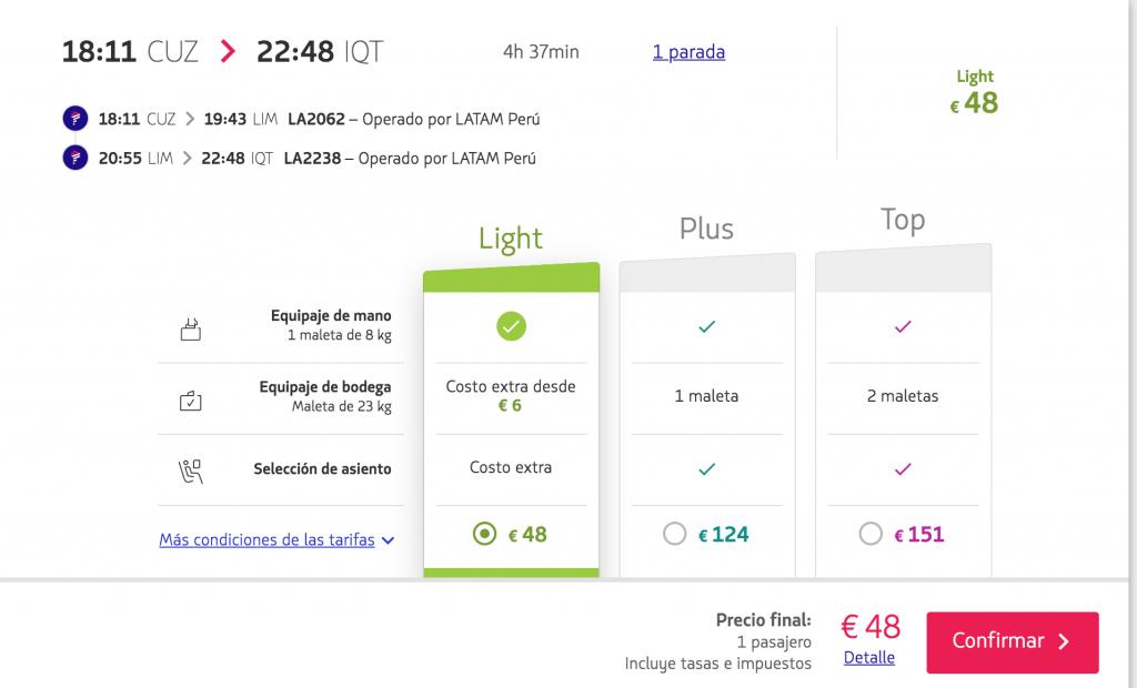 Precio para el horario seleccionado, en la web española de Latam