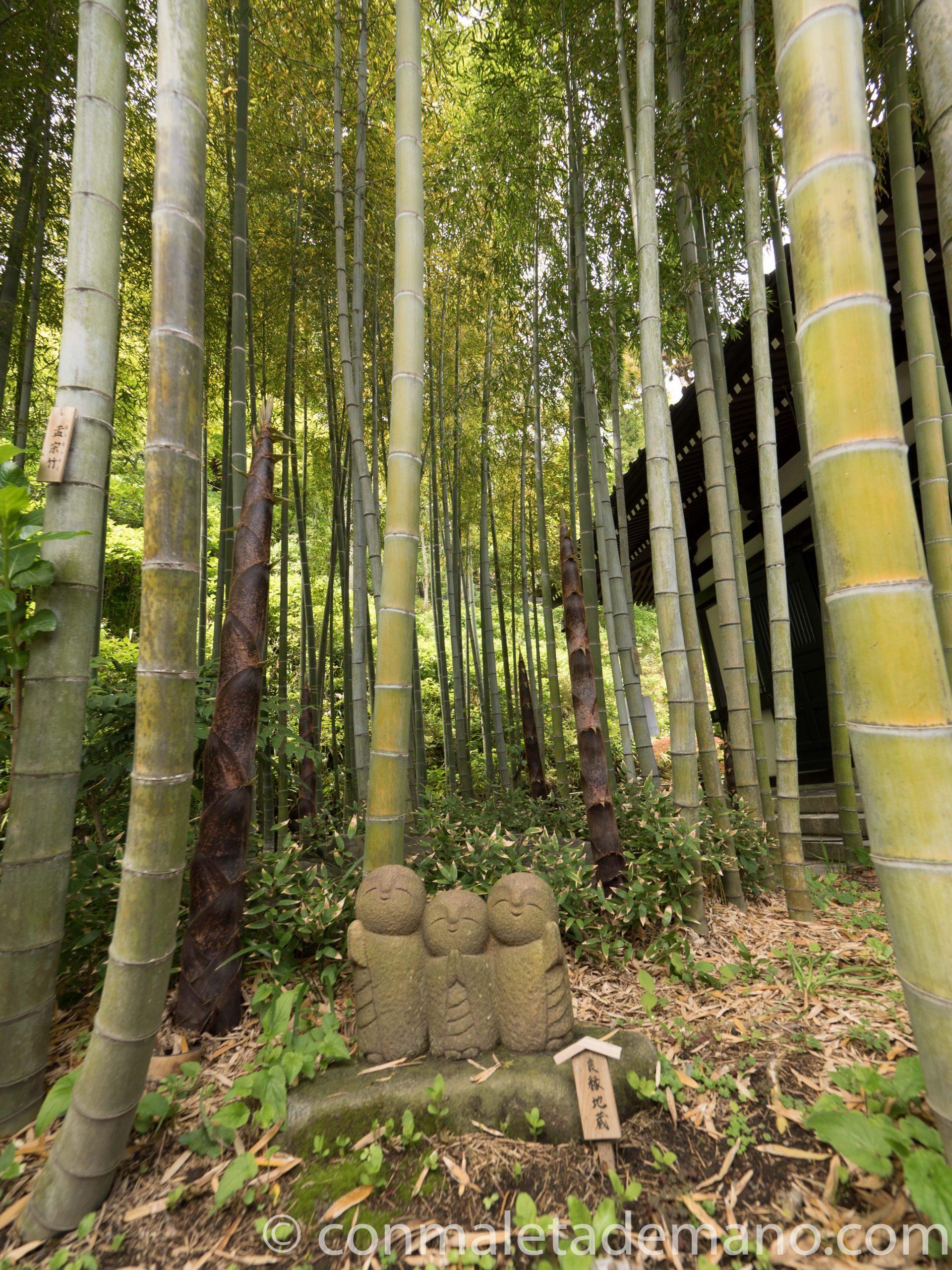 Jizos en el bosque de bambú del Hase-dera