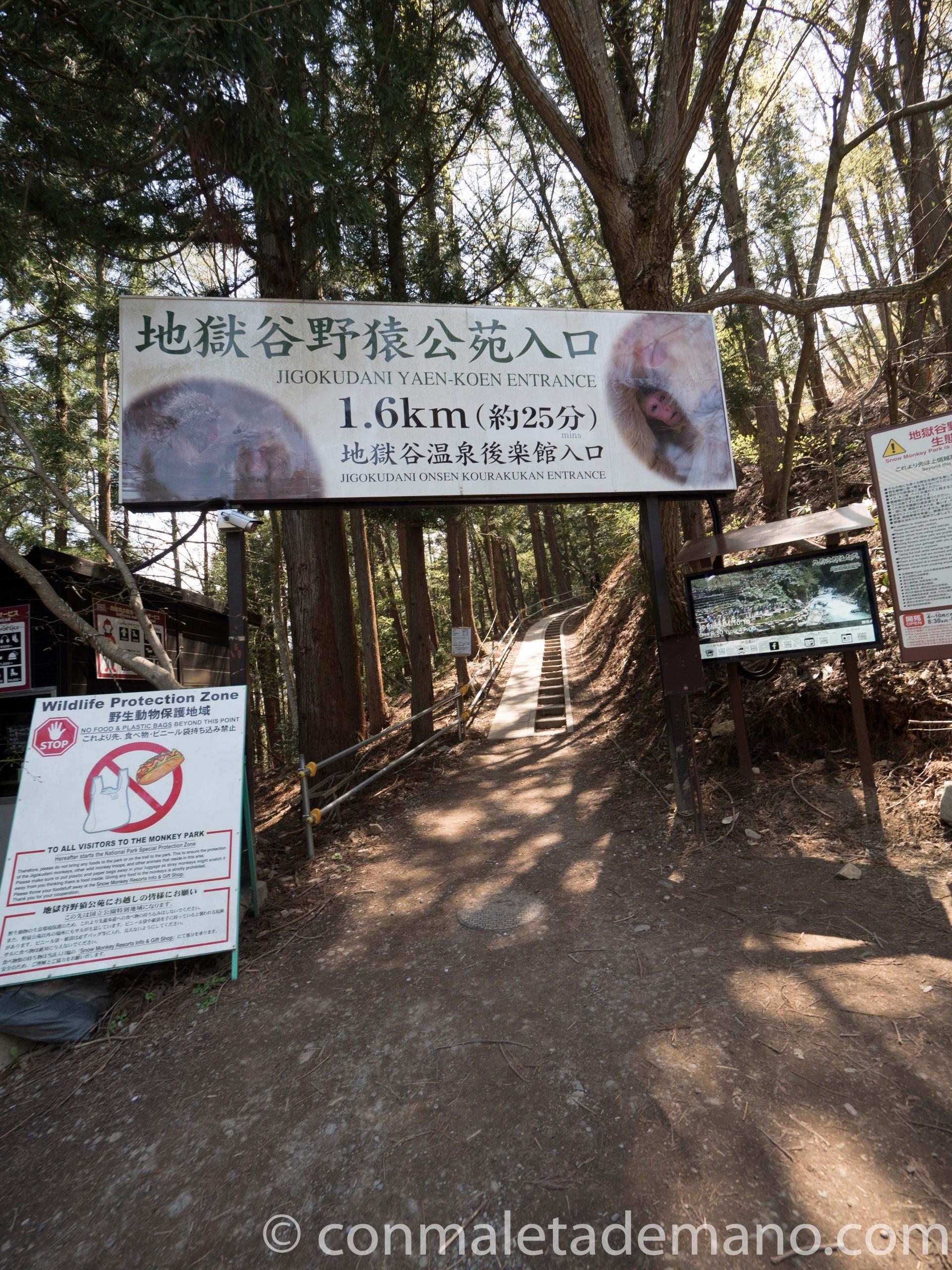 Acceso al camino que lleva a Jigokudani