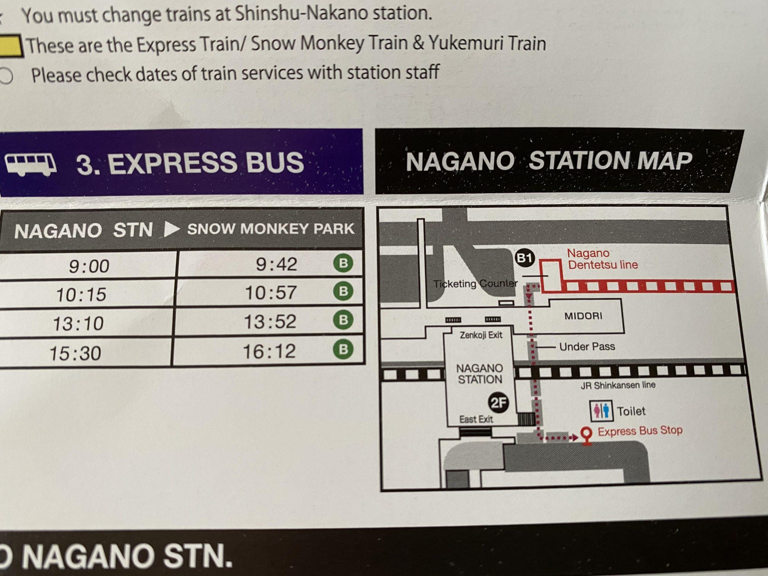Horarios del autobús express de Nagano a Jigokudani