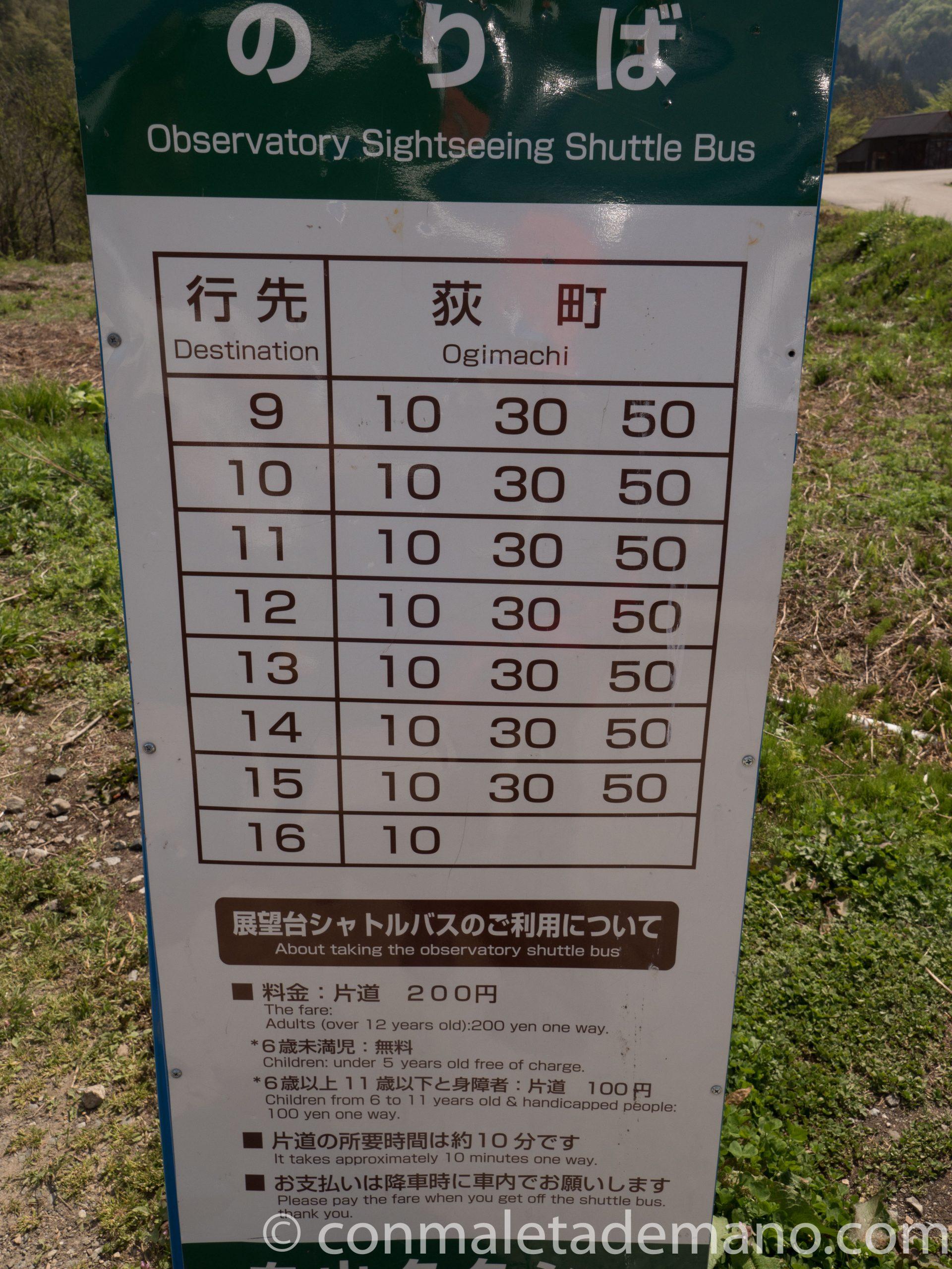 Horarios de bajada del Mirador de Shiroyama a Shirakawago