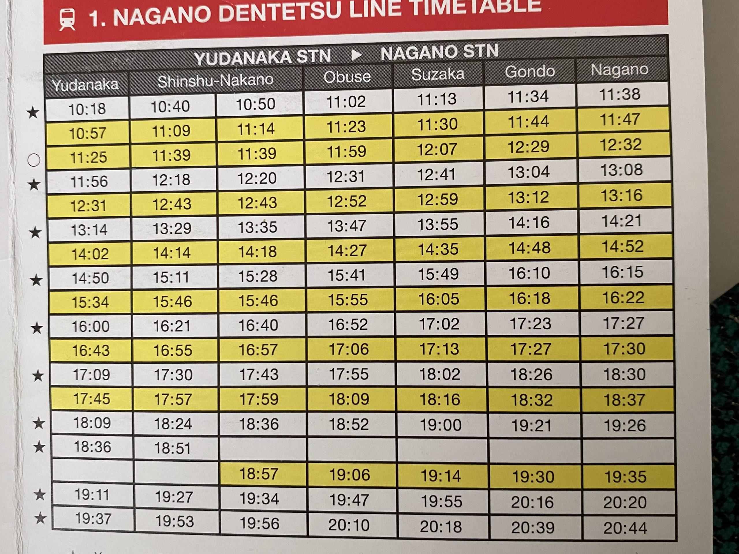 Horarios del tren de Yudanaka a Nagano