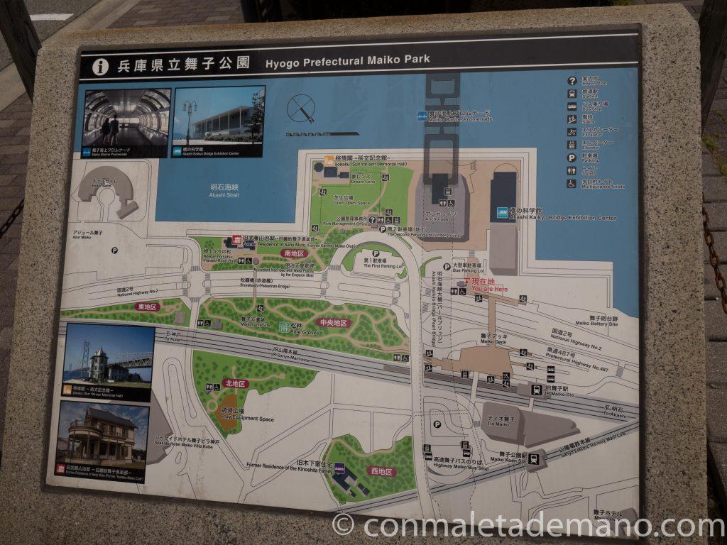 Mapa del Parque Maiko, en Kobe