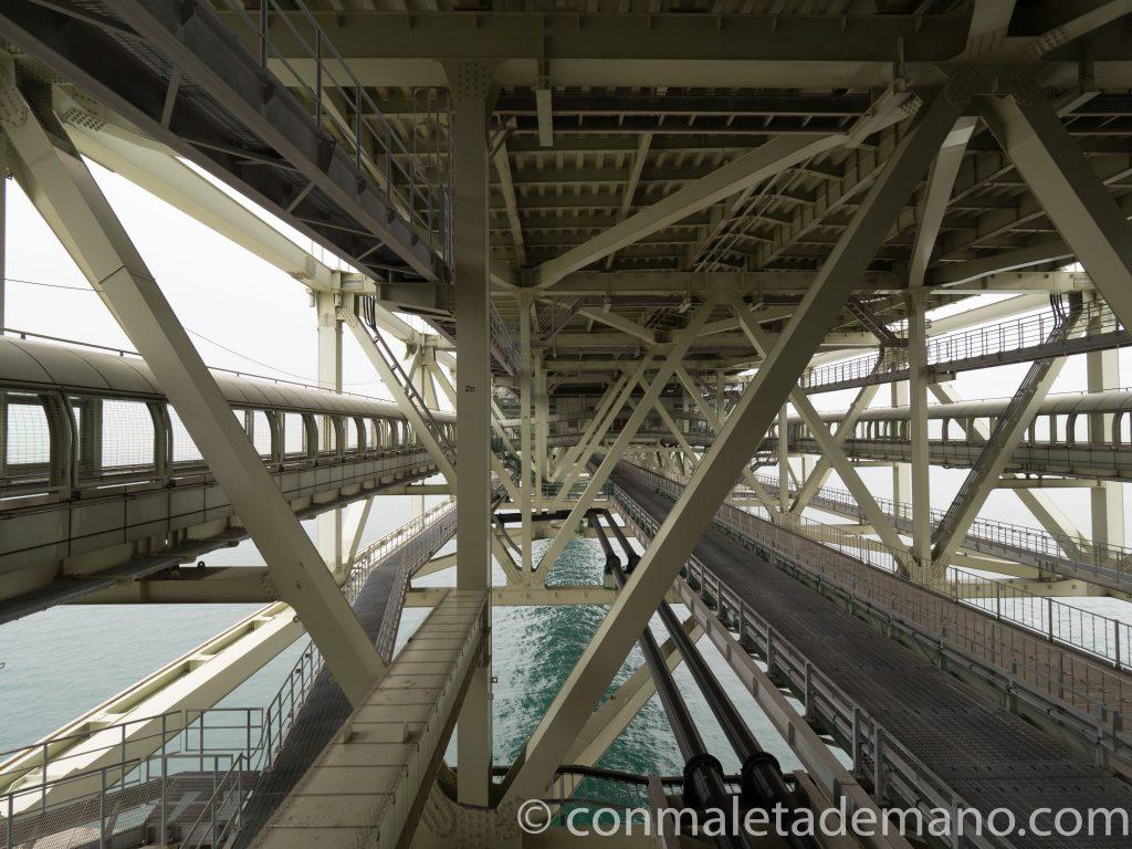 Estructura del Puente Akashi Kaikyo, en Kobe