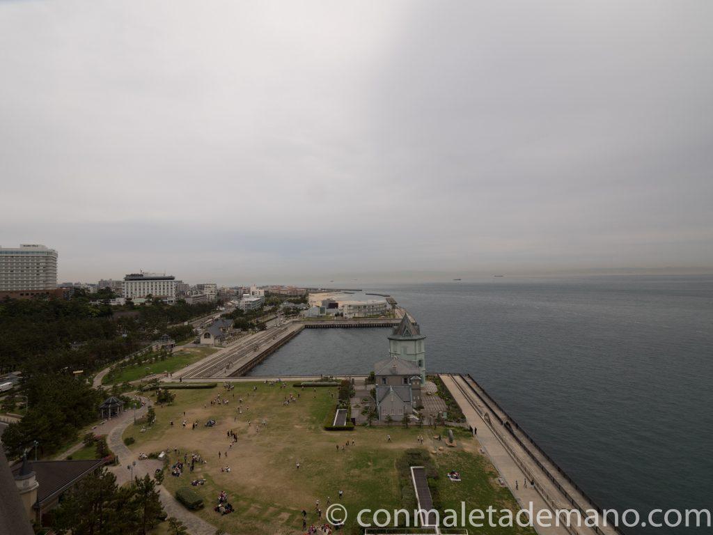Vistas desde el centro de interpretación del puente Akashi Kaikyo, en Kobe